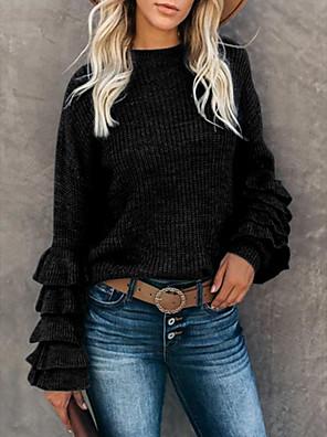 Χαμηλού Κόστους Μακριά Φορέματα-Γυναικεία Βασικό Με Βολάν Πλεκτό Συμπαγές Χρώμα Πουλόβερ Μακρυμάνικο Πουλόβερ ζακέτες Στρογγυλή Ψηλή Λαιμόκοψη Φθινόπωρο Χειμώνας Μαύρο Θαλασσί