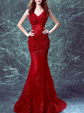 cheap Evening Dresses-Mermaid / Trumpet Elegant Floral Engagement Formal Evening Dress V Neck Sleeveless Sweep / Brush Train Tulle with Beading Appliques 2020