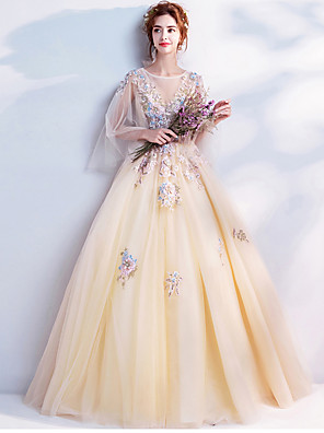 cheap Evening Dresses-Ball Gown Elegant Floral Quinceanera Engagement Dress Illusion Neck Long Sleeve Floor Length Organza with Beading Appliques 2020