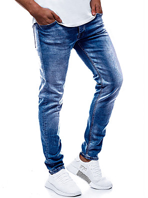 cheap Men's Pants & Shorts-Men's Basic Daily Going out Slim Denim Jeans Pants Solid Colored Hole Blue S M L