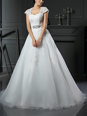 cheap Wedding Dresses-Ball Gown Wedding Dresses Square Neck Sweep / Brush Train Lace Tulle Sleeveless Romantic with Appliques Crystal Brooch 2020