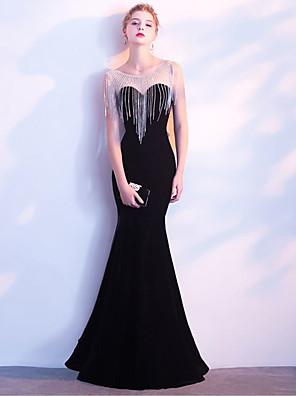 cheap Evening Dresses-Mermaid / Trumpet Elegant Sexy Wedding Guest Formal Evening Dress Illusion Neck Sleeveless Floor Length Velvet with Crystals Tassel 2020