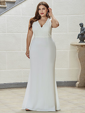 cheap Evening Dresses-Mermaid / Trumpet Vintage Plus Size Engagement Formal Evening Dress V Neck Sleeveless Sweep / Brush Train Lace with Draping Lace Insert 2020