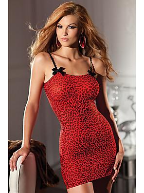 cheap Suits-Women's Mesh Babydoll & Slips Nightwear Leopard Red S M L