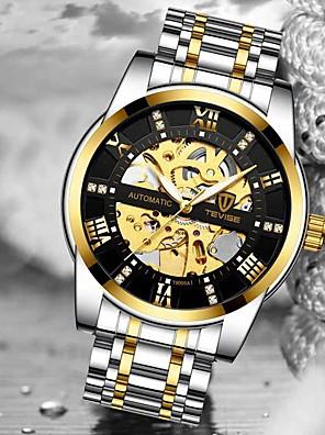 ieftine Ceas Militar-Tevise Bărbați ceas mecanic Mecanism automat Stil modern Stl Casual Rezistent la Apă Oțel inoxidabil Analog - Negru / Argintiu Alb + argintiu Negru / Iluminat