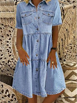 cheap Women's T-shirts-Women's Denim Shirt Dress Knee Length Dress - Short Sleeve Square Pocket Summer Shirt Collar Casual 100% Cotton 2020 Blue S M L XL XXL XXXL