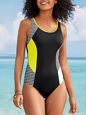 cheap Bikinis-Women's Modern Style Casual / Sporty One-piece Swimsuit Color Block Color Block Halter Neck Swimwear Bathing Suits Black / Padded Bras