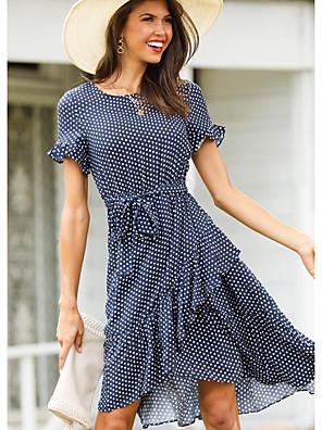 Χαμηλού Κόστους Μίνι Φορέματα-Γυναικεία Φόρεμα σε γραμμή Α Φόρεμα μέχρι το γόνατο - Κοντομάνικο Πουά Με Βολάν Στάμπα Καλοκαίρι Καθημερινό Καθημερινά 2020 Μαύρο Καφέ Βαθυγάλαζο Τ M L XL