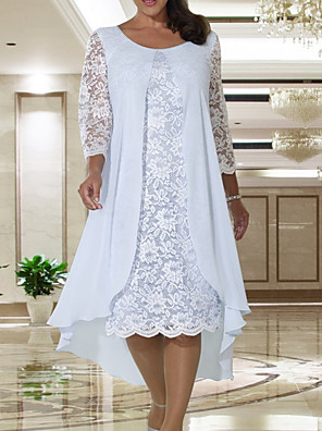 cheap Mother of the Bride Dresses-A-Line Mother of the Bride Dress Elegant Jewel Neck Knee Length Chiffon Lace Long Sleeve with Lace 2020