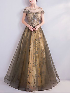 cheap Prom Dresses-A-Line Elegant Floral Wedding Guest Formal Evening Dress Illusion Neck Short Sleeve Floor Length Tulle with Beading Sequin Appliques 2020