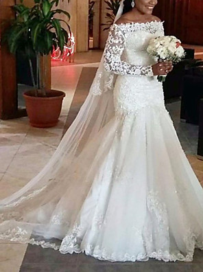 cheap Cocktail Dresses-A-Line Wedding Dresses Off Shoulder Court Train Lace Tulle Long Sleeve Formal with 2020