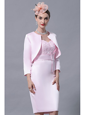 cheap Wedding Wraps-Two Piece Sheath / Column Mother of the Bride Dress Elegant Scoop Neck Knee Length Chiffon 3/4 Length Sleeve with Sash / Ribbon Appliques 2020