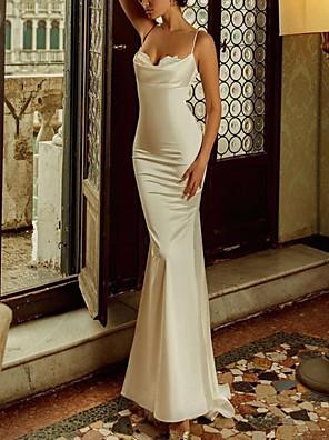 cheap Evening Dresses-Mermaid / Trumpet Elegant Reformation Amante Engagement Formal Evening Dress Spaghetti Strap Sleeveless Sweep / Brush Train Charmeuse with Sleek Appliques 2020