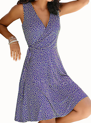 Χαμηλού Κόστους Μίνι Φορέματα-Γυναικεία Φόρεμα σε γραμμή Α Φόρεμα μέχρι το γόνατο - Αμάνικο Στάμπα Στάμπα Καλοκαίρι Λαιμόκοψη V Καθημερινό Καθημερινά 2020 Μαύρο Θαλασσί Βυσσινί Κίτρινο Κρασί Πράσινο του τριφυλλιού Τ M L XL XXL