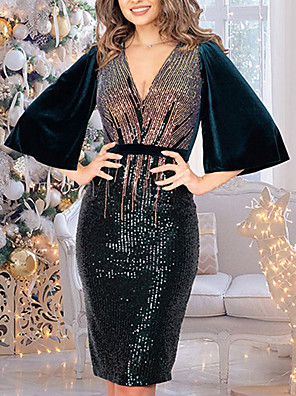 cheap Evening Dresses-Sheath / Column Glittering Sexy Party Wear Cocktail Party Dress V Neck Half Sleeve Knee Length Nylon with Sequin 2020
