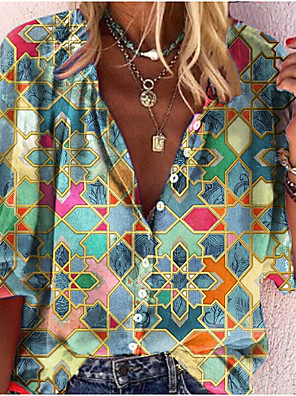 cheap Women's Blouses & Shirts-Women's Blouse Shirt Abstract Long Sleeve Print V Neck Tops Basic Basic Top Blue