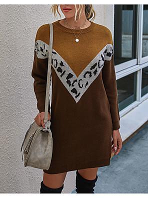 cheap Mini Dresses-Women's Sweater Jumper Dress Short Mini Dress - Long Sleeve Color Block Fall Winter Casual Daily 2020 Black Khaki S M L XL