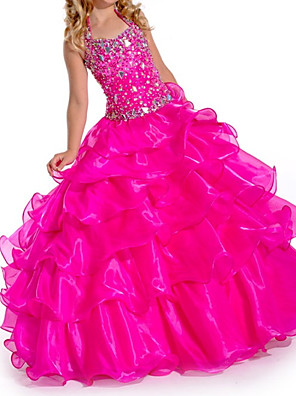 cheap Prom Dresses-Ball Gown V Neck Floor Length Organza Bridesmaid Dress with Tier
