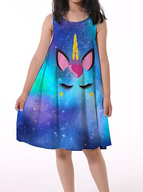 baratos Vestidos para Meninas-camisolas de unicórnio combinando com pijama de manga esvoaçante de verão para meninas