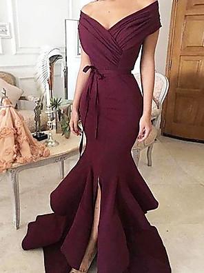 cheap Evening Dresses-Mermaid / Trumpet Minimalist Sexy Wedding Guest Formal Evening Dress V Neck Sleeveless Sweep / Brush Train Charmeuse with Split Tier 2020
