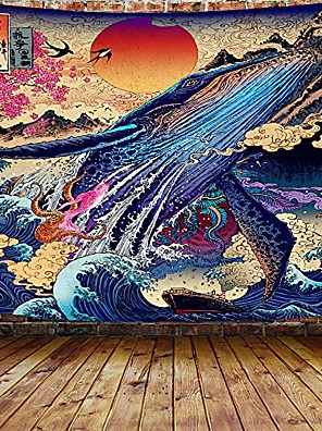 cheap Wall Tapestries-Japanese Painting Style Ukiyo-e Wall Tapestry Art Decor Blanket Curtain Hanging Home Bedroom Living Room Decoration Ukiyo-e Whale Snake Deer Animal Sea Ocean Wave Mountian Crane