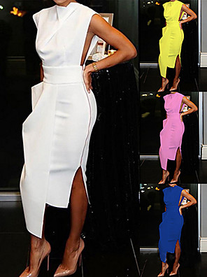 cheap Party Dresses-Women's Sheath Dress Knee Length Dress - Sleeveless Solid Colored Spring Summer Crew Neck Party Slim White Black Blue Yellow Blushing Pink S M L XL