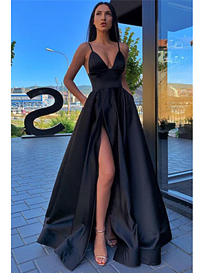 cheap Prom Dresses-A-Line Minimalist Sexy Prom Formal Evening Dress Spaghetti Strap Sleeveless Sweep / Brush Train Satin with Pleats Split Front 2020