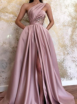 cheap Prom Dresses-A-Line Minimalist Sexy Wedding Guest Formal Evening Dress One Shoulder Sleeveless Sweep / Brush Train Satin with Pleats Split 2020