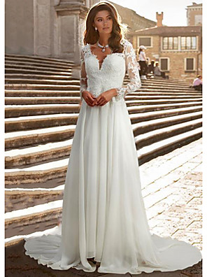 cheap Wedding Wraps-A-Line Wedding Dresses V Neck Chapel Train Chiffon Satin Long Sleeve Romantic Illusion Sleeve with Buttons Appliques 2020