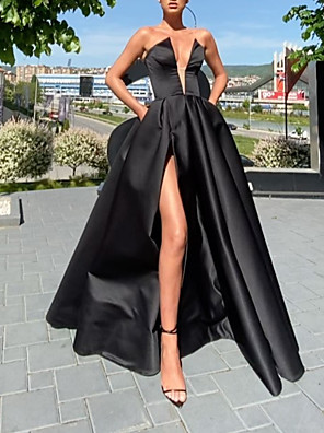 cheap Evening Dresses-A-Line Minimalist Sexy Wedding Guest Prom Dress V Neck Sleeveless Floor Length Satin with Pleats Split 2020