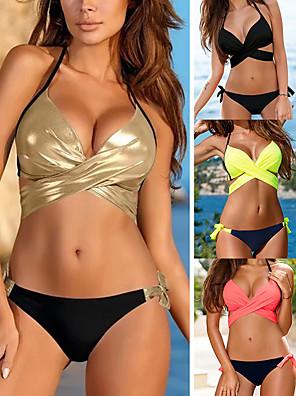cheap Bikinis-Women's Sexy Boho Bikini Tankini Swimsuit Backless Criss Cross Lace up Color Block Tied Neck Plunging Neck Swimwear Bathing Suits Black Yellow Blushing Pink Gold / Padded Bras