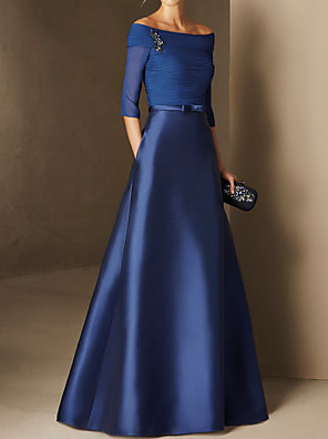cheap Evening Dresses-A-Line Elegant Minimalist Engagement Formal Evening Dress Off Shoulder Half Sleeve Floor Length Chiffon Satin with Ruched 2020