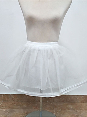 cheap Wedding Slips-Wedding Slips Tulle Knee-Length Wedding / Without Ring with Lace-up