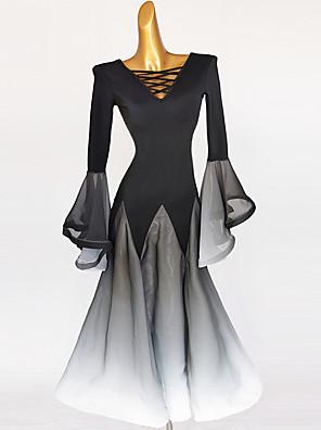cheap Quinceanera Dresses-Ballroom Dance Dress Split Joint Women's Training Long Sleeve High Chinlon