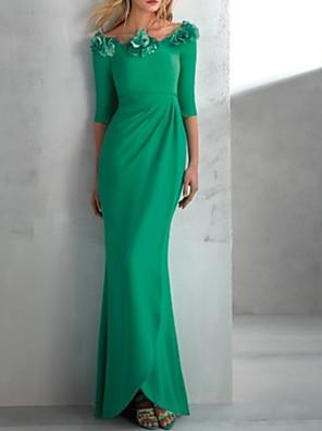 cheap Evening Dresses-Mermaid / Trumpet Elegant Floral Wedding Guest Formal Evening Dress Jewel Neck Half Sleeve Floor Length Satin with Appliques 2020