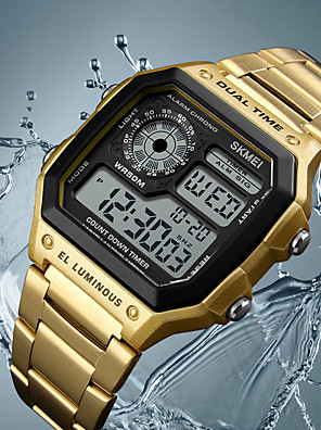cheap Sport Watches-men's digital multi-function watches dual time alarm stopwatch countdown backlight waterproof watch rose gold (rose gold)