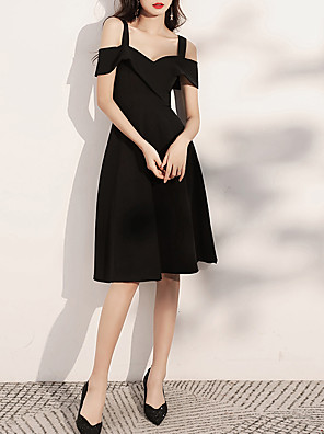 cheap Evening Dresses-A-Line Minimalist Sexy Homecoming Cocktail Party Dress Off Shoulder Short Sleeve Knee Length Spandex with Sleek 2020