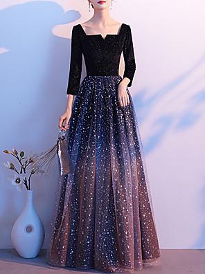 cheap Evening Dresses-A-Line Glittering Minimalist Wedding Guest Formal Evening Dress Scoop Neck Long Sleeve Floor Length Tulle Velvet with Sequin 2020