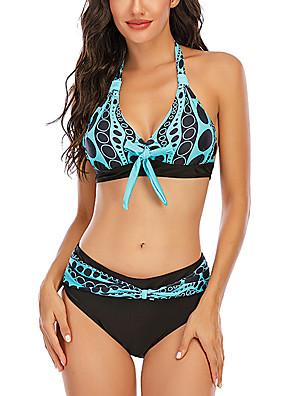 economico Bikinis-Per donna Sensuale Spezzato Bikini Costume da bagno Schiena scoperta A fascia A pois All'americana Costumi da bagno Costumi da bagno Blu