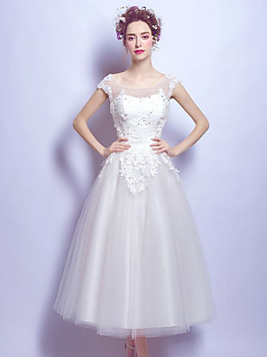 cheap Evening Dresses-Ball Gown Elegant Floral Engagement Formal Evening Dress Illusion Neck Short Sleeve Ankle Length Organza with Crystals Appliques 2020