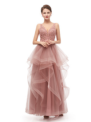cheap Evening Dresses-A-Line Elegant Vintage Prom Formal Evening Dress V Neck Sleeveless Floor Length Tulle with Beading Appliques 2020