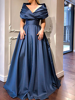 cheap Prom Dresses-A-Line Elegant Minimalist Engagement Prom Dress V Neck Short Sleeve Sweep / Brush Train Satin with Pleats 2020