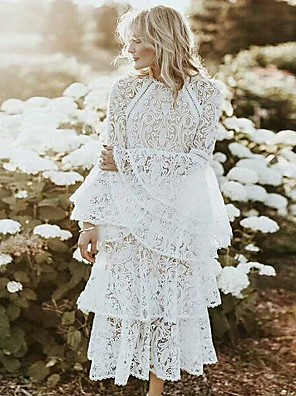 cheap Cocktail Dresses-A-Line Elegant Boho Holiday Cocktail Party Dress Jewel Neck Long Sleeve Ankle Length Lace with Ruffles Lace Insert 2020