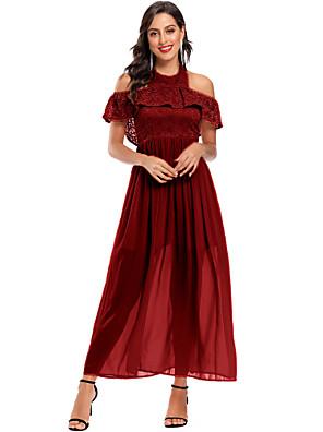 cheap Prom Dresses-A-Line Elegant Minimalist Party Wear Prom Dress Halter Neck Short Sleeve Ankle Length Chiffon with Pleats 2020