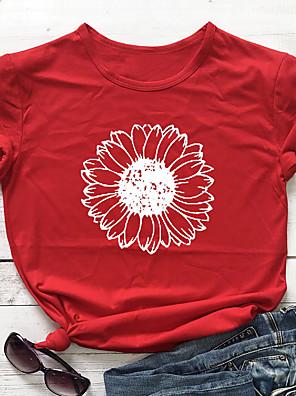 cheap Women's T-shirts-Women's T-shirt Sunflower Round Neck Tops 100% Cotton Basic Basic Top Navy ArmyGreen White