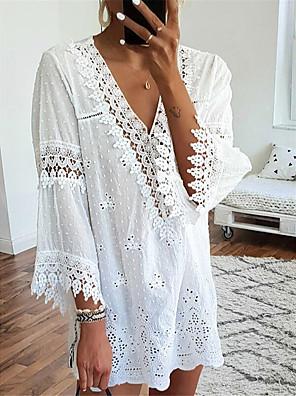 cheap Mini Dresses-Women's Shift Dress Short Mini Dress - Long Sleeve Solid Color Lace Fall V Neck Casual Daily Flare Cuff Sleeve Loose 2020 White Black Blushing Pink S M L XL XXL XXXL