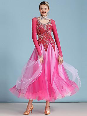 hesapli Balo Elbiseleri-Balo Dansı Elbise Dantel Kristaller / Yapay Elmaslar Kadın's Performans Uzun Kollu Yüksek Dantelalar Organze Tül