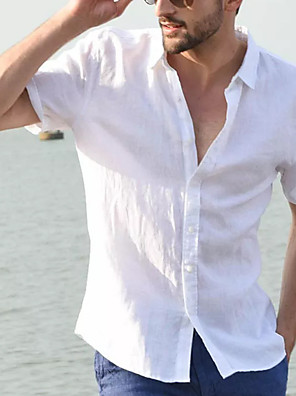 cheap Men's Tees-Men's Shirt Solid Colored Short Sleeve Daily Tops Cotton Casual Button Down Collar White Blue Black