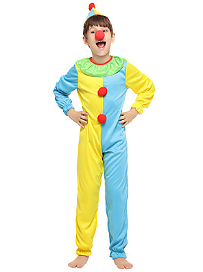 cheap Girls' Dresses-Clown Cosplay Costume Outfits Kid's Boys' Cosplay Halloween Halloween Festival / Holiday Polyester Yellow Easy Carnival Costumes / Leotard / Onesie / Hat / Leotard / Onesie / Hat