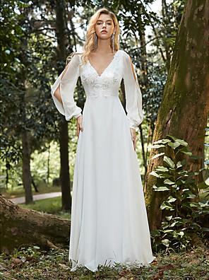 Χαμηλού Κόστους Μακριά Φορέματα-Γυναικεία Φόρεμα σε γραμμή Α Μακρύ φόρεμα - Μακρυμάνικο Συμπαγές Χρώμα Δαντέλα Άνοιξη Φθινόπωρο Επίσημο Κομψό Πάρτι Παραλία 2020 Λευκό Τ M L XL XXL 3XL 4XL